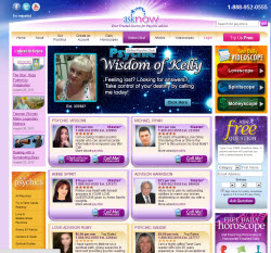 AskNow Psychics Website Screen Shot